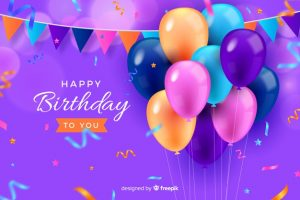 風船で誕生日をお祝いしているイメージ画像