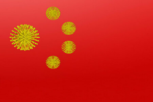 ウイルスで象った中国国旗