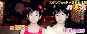 鈴木光の小学生の頃の姉との写真